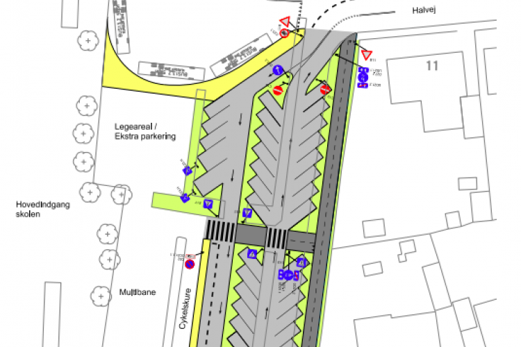 P-plads og vejomlægning ved Marstal Skole for 4 millioner