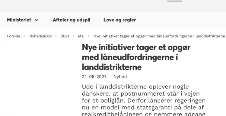 Staten vil garantere for boliglån i Søby og andre med lave priser