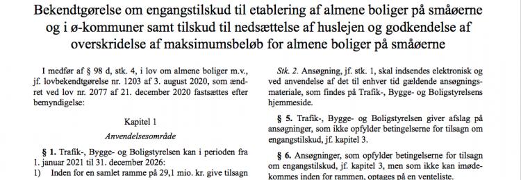 Byggetilskud på 404.000 kr per bolig på Ærø