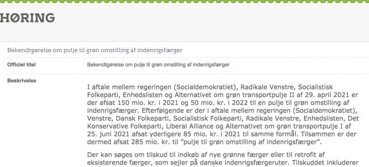 285 millioner til omstilling af ÆrøXpressen og Ærø Færgerne og andre
