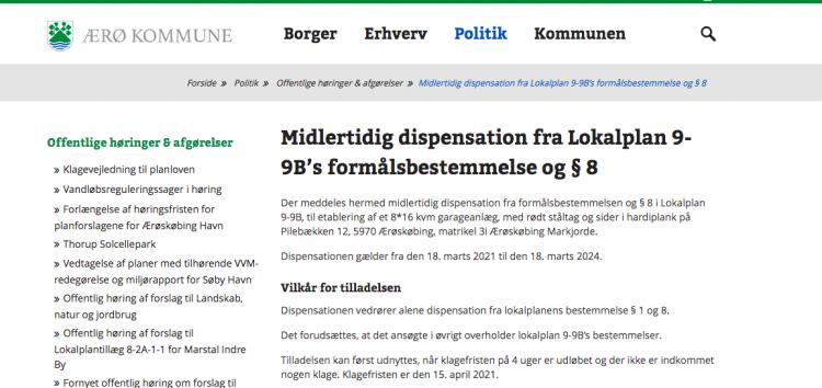 Garagebyggeri i Ærøskøbing får dispensation